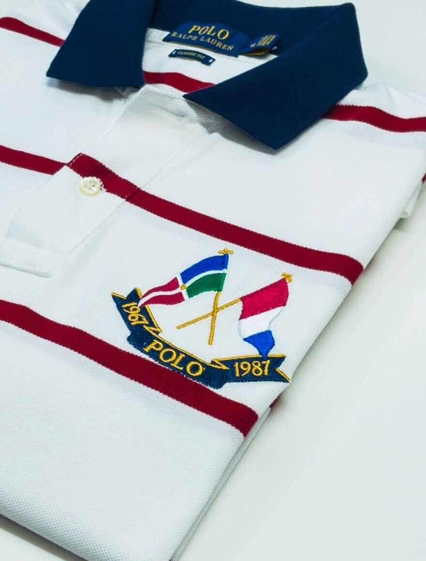 Ralph Lauren  vintage cross flag stripe Polo