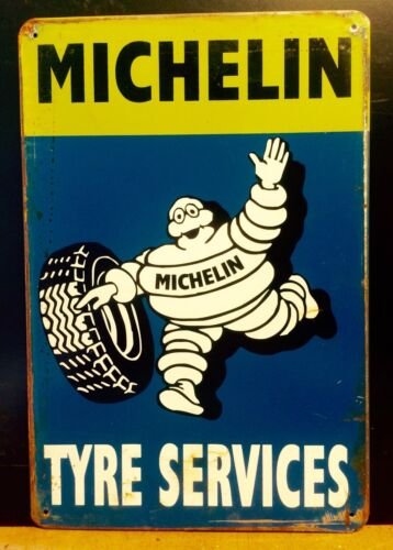 MICHELIN Man Tyre Service Small METAL SIGN vtg Retro Garage Wall Decor 16x12Cm