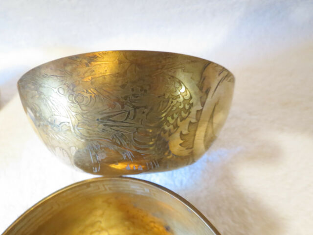 6 Vintage Oriental Chinese Brass Dragon Etched Bowls