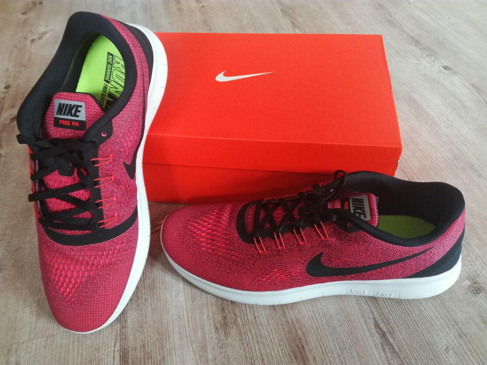 Nike Free RN Herren-Laufschuh Größe EUR 46 Schwarz Rot(Hyper Orange) Run Sneaker
