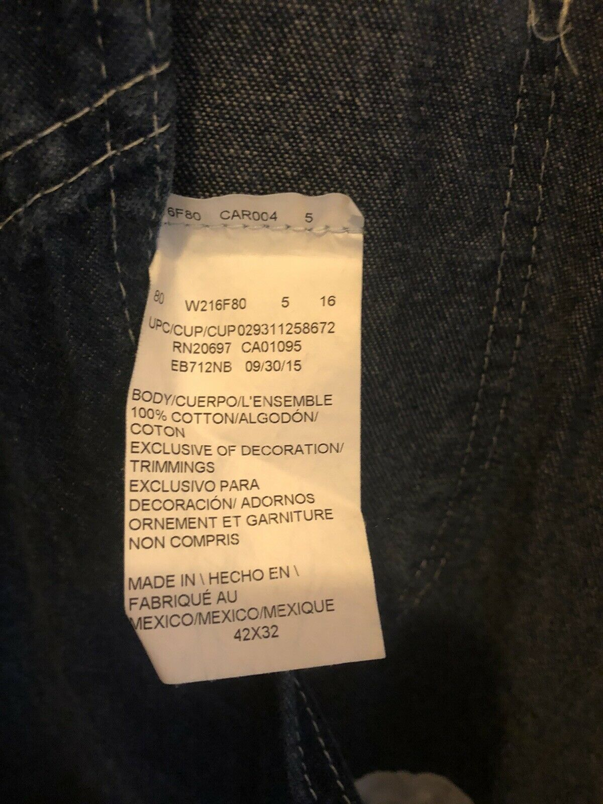 Dickies Jeans  Bib Overalls Size 42x32 - image 5