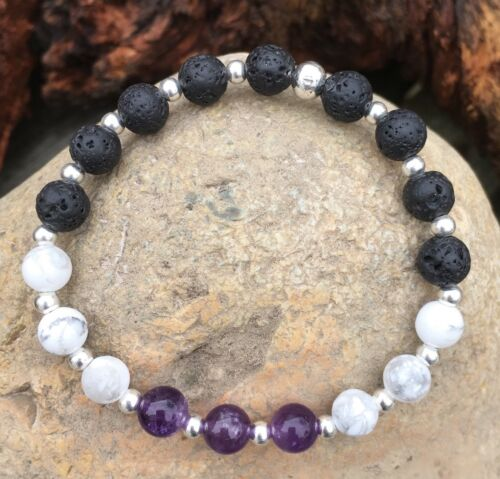 HANDMADE Lava Stone Howlite Amethyst Essential Oil Diffuser Bracelet