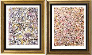 "2 Pollock Signed/Hand-Numbered Ltd Ed Prints, ""Number 1"" & ""Untitled"" (unframed)"