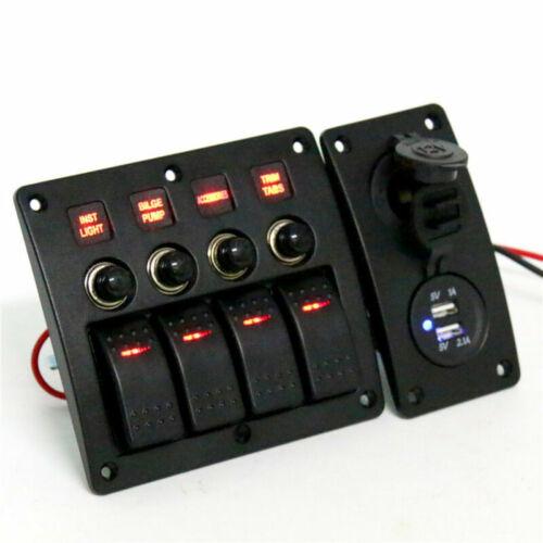 4 Gang LED Indicators Rocker /& Circuit Breaker Waterproof Marine Switch Panel US