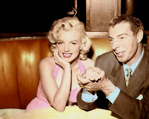 "MARILYN MONROE JOE DiMAGGIO 1953 CELEBRITY COUPLE 8x10"" HAND COLOR TINTED PHOTO"