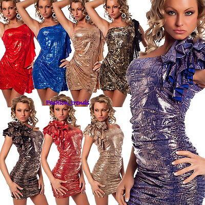 Asymmetrisches Glitzer Rüschen Minikleid Party Silvester Kleid* XS S M-34 36 38