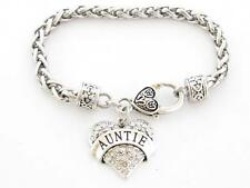 Auntie Clear Crystal Heart Silver Lobster Claw Bracelet Jewelry Family Gift