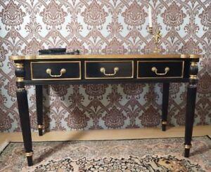 Bureau plat de style bois massif noir et dorÉ À la feuille d or