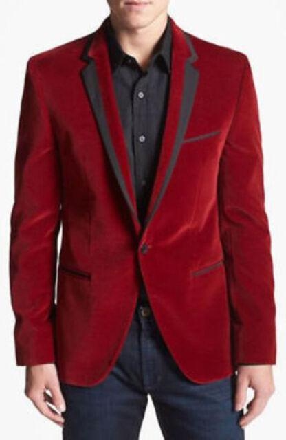 Men Red Velvet Blazer Coat Jacket Stylish Sports Wedding Groom Party Wear Custom
