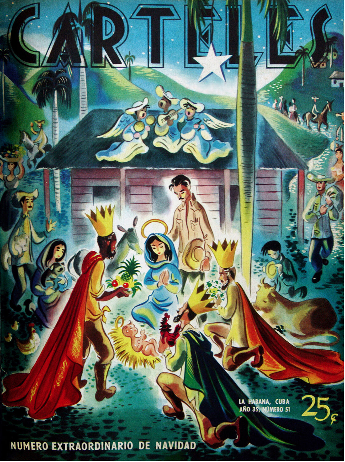 185.Decoration design Nativity poster Navidad en Cuba Christmas  The Best