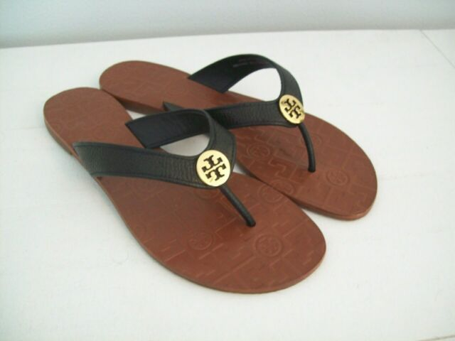 Tory Burch Thora Leather Thongs Sandals Black Size 8 New W Box FREE SHIPPING