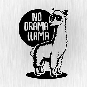 NO-DRAMA-LLAMA-Lama-Alpaca-Alpaka-Fun-Schwarz-Auto-Vinyl-Decal-Sticker-Aufkleber