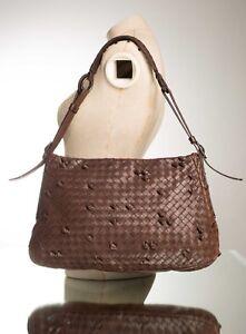 ca17a266d9 Image is loading BOTTEGA-VENETA-Dark-Brown-Intrecciato-Woven-Knot-Leather-