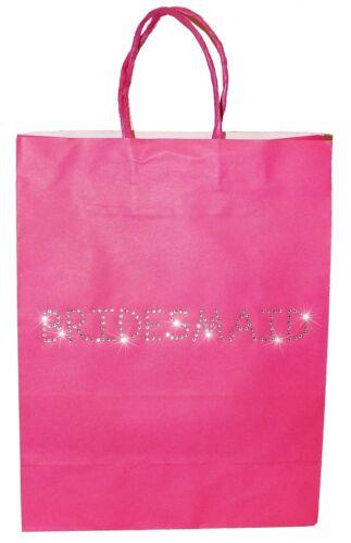 Personalised Gift Bag Paper Pink Black White Wedding Bridesmaid Best Man Bride