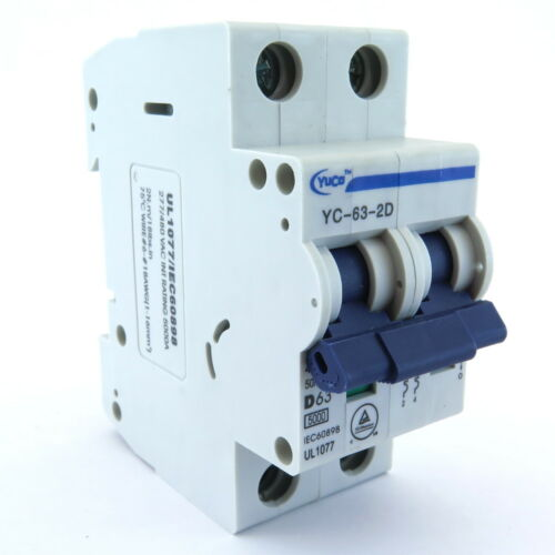 "With 4/"" Din Rail YuCo 2p 63a D Curve.480vac 220vdc Miniature Circuit Breaker"