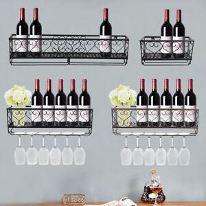 Wall Mount Metal Wine Rack Bottle Champagne Glass Holder Storage Bar