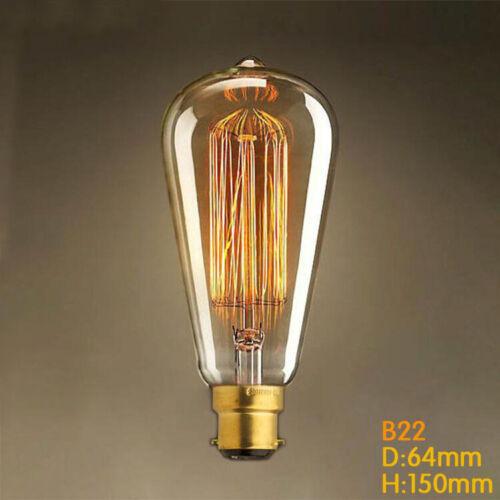 Vintage Filament Edison Bulb ES E27//B22 Bayonet Squirrel Cage Incandescent Light