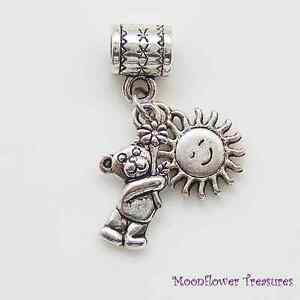 Tibetan-Silver-Cute-Teddy-Bear-with-Daisy-amp-Sun-Charm-fit-European-Bracelet