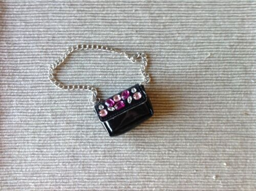 "American Girl Fushia pink Gem Merry Magenta black purse for 18/"" dolls NEW"