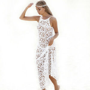 d8aa07eda9248 Details about Womens Beach Dress Swimwear Lace Crochet Bikini Cover Up  Swimsuit Bathing Suits