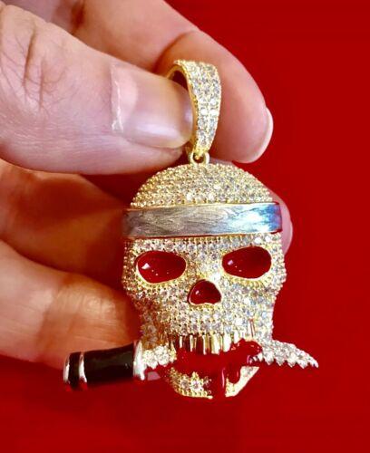 Herren 14K Gold Finish Büste Unten Totenkopf mit Blutige Messer in Mund Anhänger