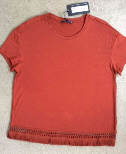 M/&S RUST COLOURED T.SHIRT WITH LACE HEM /& SOFT TASSLE ALL ALONG BNWT