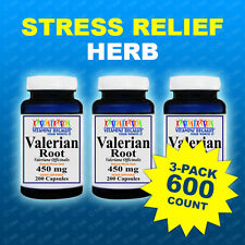 Valerian Root 450mg 3pk =600 Caps Max Strength  Relax, Sleep, Herb Made In USA