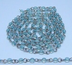 1 Feet Aqua Quartz Glass Beads Black Plated rosary chain