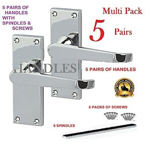 MULTI-PACK-X-5-Silver-Polished-Chrome-Modern-Internal-Door-Lever-Handle