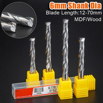 6x22mm Spiral Cutter Router Bit 1-Flute  CNC End Mill For MDF Milling Cutter