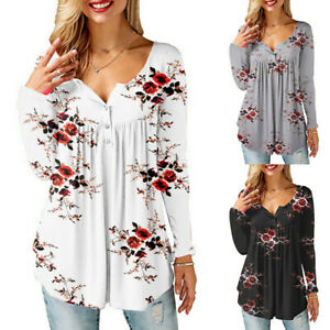 Womens-Floral-Print-Button-V-Neck-Tops-Ladies-Long-Sleeve-Loose-Blouse-T-Shirt