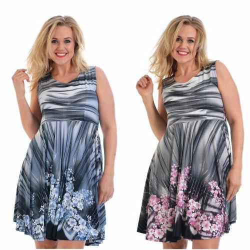 Nouveau Robe Femme Patineuse Femme Plus Taille Floral Midi Tunique Patineuse nouvelle 28 jours