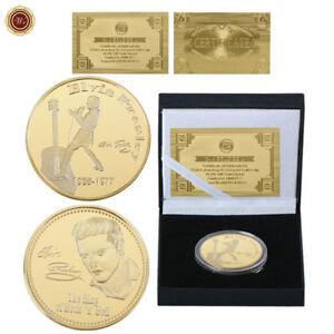 WR-Elvis-Presley-1935-1977-El-Rey-del-Rock-039-n-039-Roll-24k-Moneda-de-oro-en-caja
