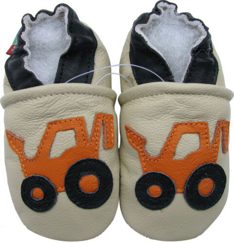 carozoo forklift cream 4-5y soft sole leather kids shoes