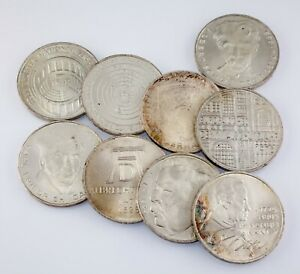 1969-1977 Germany 5 Marks Coin lot of 9 (All coins are in BU)