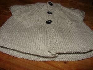 Brand New Hand Knitted Baby Gris Sans Manches Cardigan 14 In (environ 35.56 Cm) 36 Cms Newborn-afficher Le Titre D'origine Finement Traité