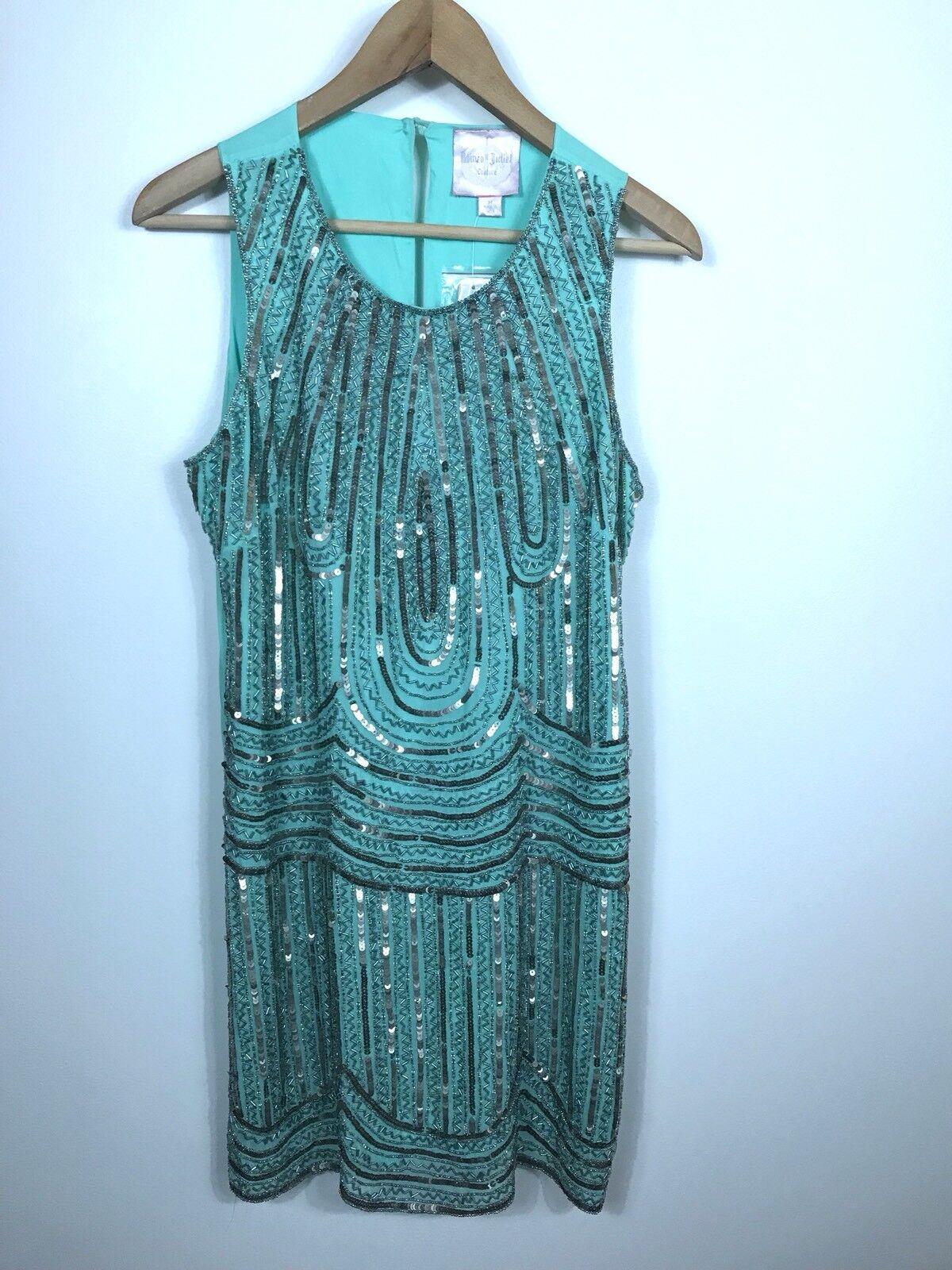 NWT Romeo & Juliet Couture Medium Mint Grün Beaded Sequin Shift Dress MSRP