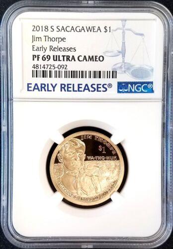 NGC Early Releases PF 69 Ultra Cameo! 2018 S Proof Jim Thorpe//Sacagawea Dollar