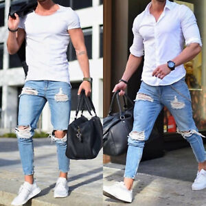 7ffefe4348a3 Das Bild wird geladen Jeans-Hosen-Herren-Denim-ausgefranst-Dehnbar-Skinny- Zerrissen-