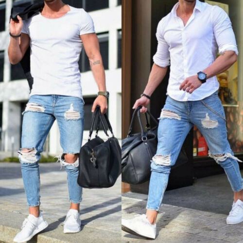 Mens Ripped Super Skinny Jeans Denim Pants Distressed Slim Fit Frayed Trousers