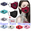thumbnail 1 - 100% Cotton Cloth Face Mask Air Valve Reusable Breathable Covering with 1 Filter