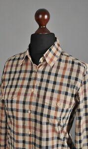 Women-039-s-DAKS-Hause-Check-Button-Up-Shirt-Long-Sleeve-Cotton-Beige-Size-UK-12