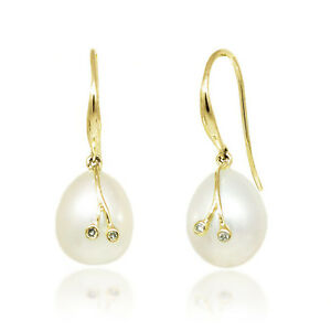 Details About 14k Pearl Earrings Yellow Gold Dangle With Diamond Accents