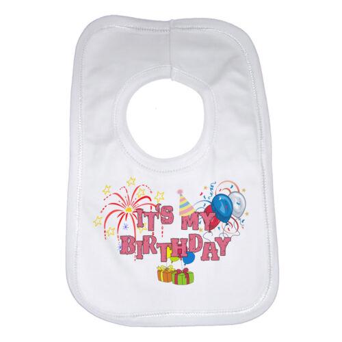 Baby Bib Personalized Graphic Design It/'s My Birthday Soft Cotton Girls