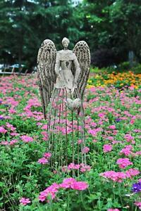 Angel-Garden-Statue-W-Heart-Antiqued-Metal-Yard-Art-Decor-Lawn-Patio-Deco-32-034-H