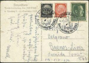 L-039-Allemagne-a-l-039-Argentine-diffuse-carte-postale-1938-tres-joli