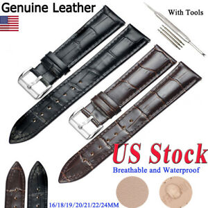 Wristwatch-Bands-Genuine-Leather-Watch-Band-Strap-Belt-Stainless-Steel-Pin-Clasp