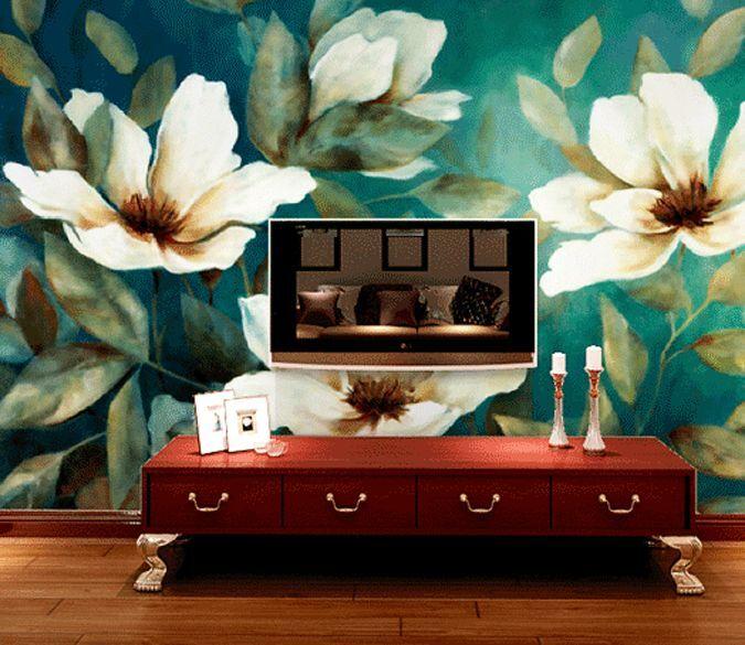 3D Blaue Blätter blüten 26 Fototapeten Wandbild Fototapete BildTapete Familie DE