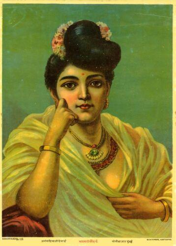 Classic Indian Art Poster Ravi Varma Press The Malabari Beauty circa 1900