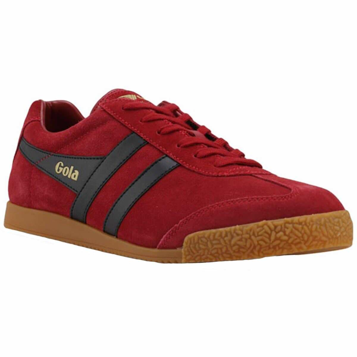 Gola Harrier Deep Red Black Mens Suede Classic Low-top Retro Sneakers Trainers